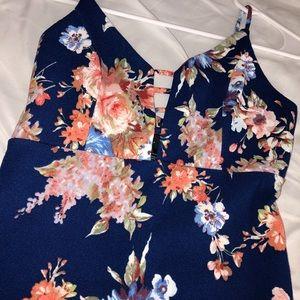 Dark blue floral midi dress